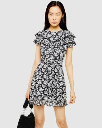 Topshop Mesh Ruffle Mini Dress