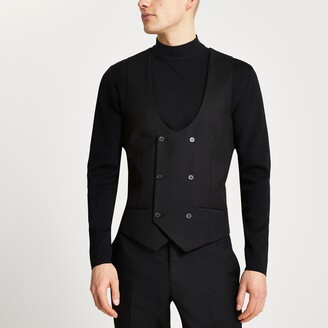 River Island Mens Black double breasted suit waistcoat