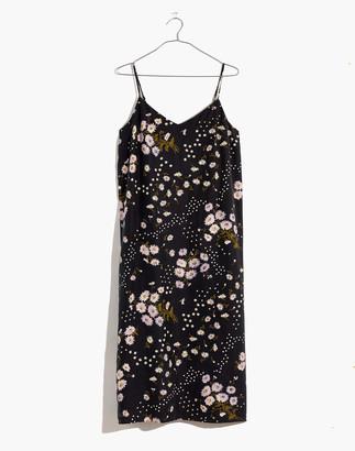 Madewell Petite Silk Eva Slip Dress in Polka Daisies