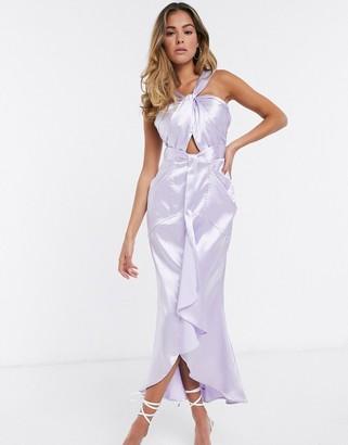 Yaura cut out ruffle satin midi dress in lilac