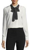 Kate Spade Lace Collar Silk Self-Tie Bow Shirt