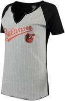 Majestic Women's Gray Baltimore Orioles From the Stretch V-Notch T-Shirt