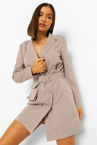 Thumbnail for your product : boohoo Pinstripe Double Breasted Utility Blazer Dress