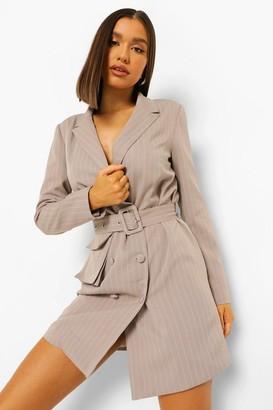 boohoo Pinstripe Double Breasted Utility Blazer Dress