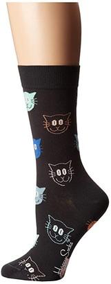 Happy Socks Cat Socks (Gray/Multi) Women's Crew Cut Socks Shoes