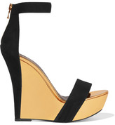 Balmain Suede And Mirrored-leather Wedge Sandals - Black