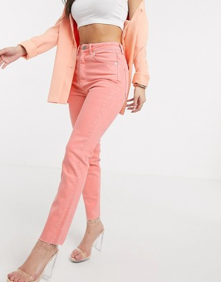 ASOS DESIGN high rise 'high rise farleigh' 'slim' mom jeans with raw hem in coral