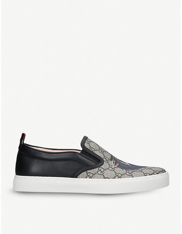 Gucci Dublin wolf-print canvas skate shoes