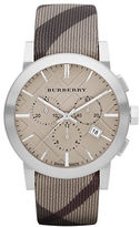 Burberry Mens Chronograph Watch with Smoke Check Strap