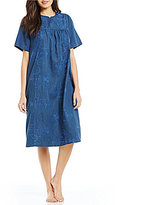 Go Softly Floral-Embroidered Denim Patio Dress
