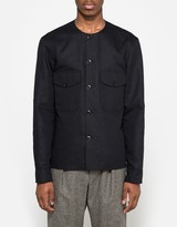Lemaire Collarless Shirt in Black