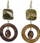 Designs Green Mother of Pearl and Brown Crystal Gold Loop Earrings