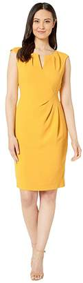 Adrianna Papell Textured Crepe Side Drape Sheath Dress (Marigold) Women's Dress