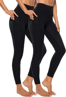 Equipment AOOM High Waist Yoga Pants Sets Tummy Control Workout Running 4 Way Stretch Out Pocket Yoga Leggings (Black+Black X-Large)