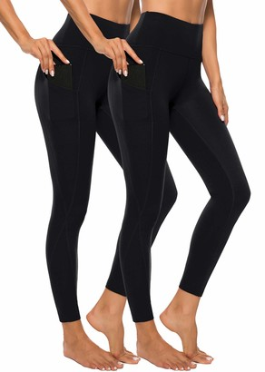 Equipment AOOM Workout Leggings with Pockets for Women High Waisted Compression Leggings Yoga Pants for Running Gym(Black2 Pack)