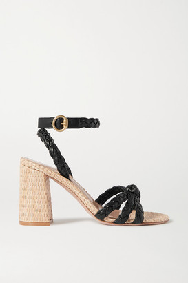 Gianvito Rossi 85 Woven Leather And Raffia Sandals - Black