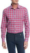 Kiton Cotton/Linen Plaid Sport Shirt