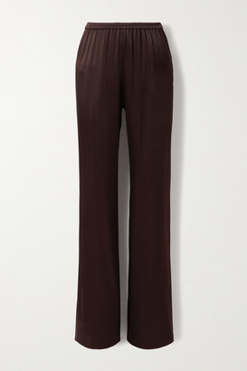 Sally LaPointe Duchesse-satin Wide-leg Pants - Chocolate