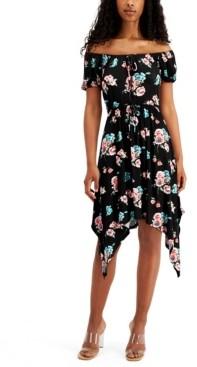 Ultra Flirt Juniors' Floral Handkerchief-Hem Dress