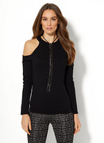 New York & Co. 7th Avenue Design Studio - Mock-Neck Cold-Shoulder Sweater