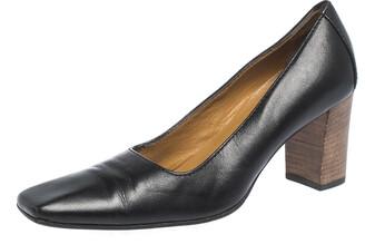 Gucci Black Leather Square Toe Pumps Size 36