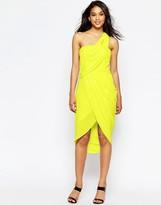 Asos Asymmetric One Shoulder Drape Midi Dress