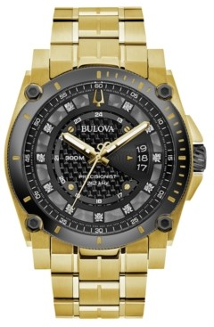 Bulova Men's Precisionist Diamond-Accent Gold-Tone Stainless Steel Bracelet Watch 46.5mm