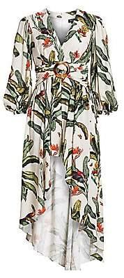 PatBO Women's Tropical-Print High-Low Romper