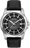 Bulova Men's Precisionist Black Leather Strap Watch 42mm 96B158