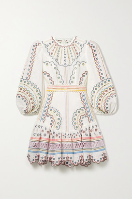 Zimmermann Peggy Broderie Anglaise Linen And Cotton-blend Mini Dress - Ivory