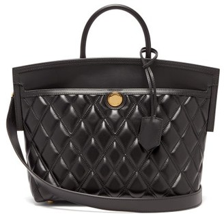 Burberry Society Small Quilted Leather Tote Bag - Womens - Black