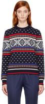 MSGM Blue Intarsia Crewneck Sweater