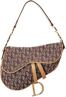 Christian Dior Brown Trotter Canvas Saddle Bag