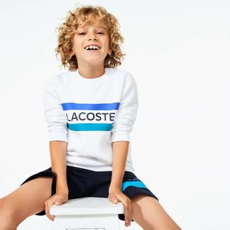 Lacoste Boys SPORT Logo and Stripe Crew Neck Sweatshirt