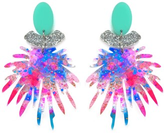 Boo And Boo Factory Pink & Blue Resin Statement Acrylic Geometric Earrings