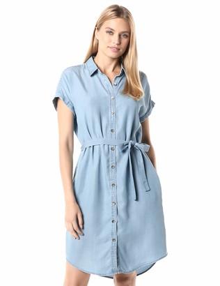 Daily Ritual Amazon Brand Women's Tencel Short-Sleeve Shirt Dress