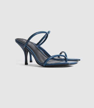 Reiss Magda - Leather Strappy Heeled Sandals in Navy