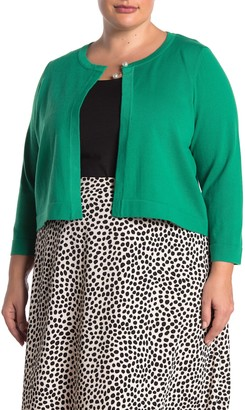 Nina Leonard 3/4 Sleeve Pearl Button Cardigan (Plus Size)