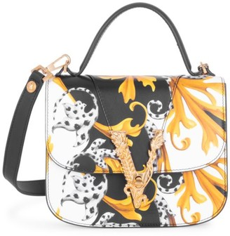 Versace Virtus Barocco-Print Leather Top Handle Bag