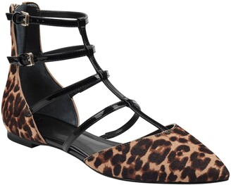 Marc Fisher Scoutly Strappy Pointy-Toe Genuine Calf Hair Flat