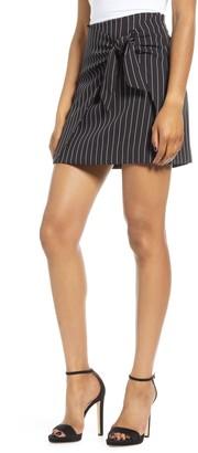 Leith Front Tie Pinstripe Miniskirt
