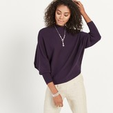 Apricot Purple Ribbed Mock Neck Batwing Jumper