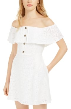 Speechless Juniors' Off-The-Shoulder Knit Eyelet Dress