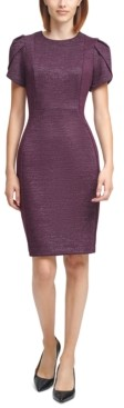 Calvin Klein Glitter Tulip-Sleeve Sheath Dress