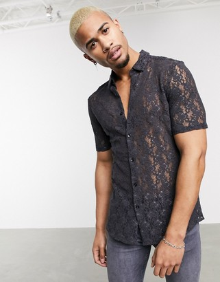ASOS DESIGN lace slim fit shirt in charcoal
