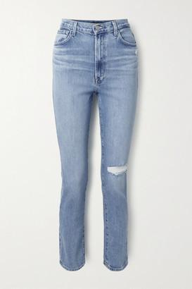 J Brand 1212 Runway Distressed High-rise Slim-leg Jeans - Mid denim