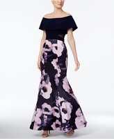 Xscape Evenings Floral-Print Off-The-Shoulder Gown