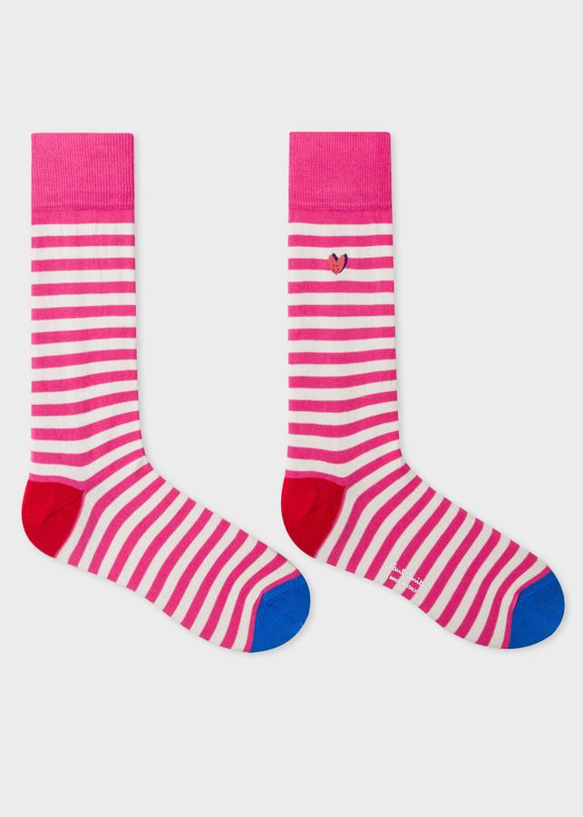 Thumbnail for your product : Men's Pink Stripe 'Smiling Heart' Motif Socks
