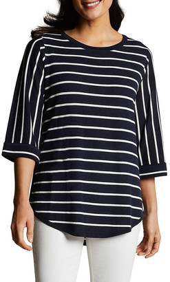 Blue Illusion Scoop Hem Stripe Knit