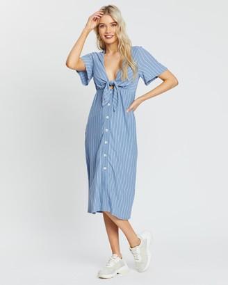 MinkPink Mescal Tie Front Midi Dress